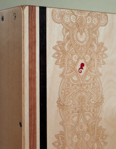 'Henna' Laser Etch Design by Kelly Spencer, and Red Tukituki Logo